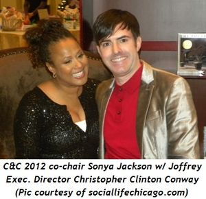 Blog 3 - C & C co-chair Sonya Jackson with Joffrey Executive Director Christopher Clinton Conway (pic by www.sociallifechicago.com)