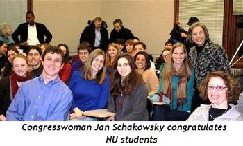 1 - Congresswoman Jan Schakowsky congratulates NU students