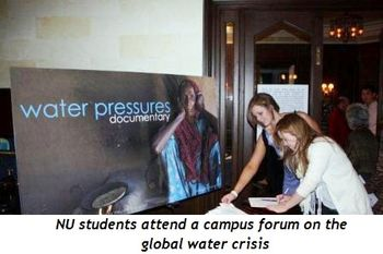 4 - NU students attend forum on global water crisis at NU Campus