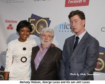 4 - Mellody Hobson, George Lucas and his son Jett Lucas