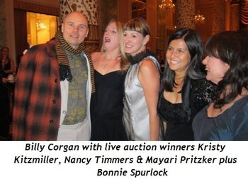 Blog 3 - Billy Corgan with live auction winners Kristy Kitzmiller, Nancy Timmers & Mayari Pritzker with Bonnie Spurlock