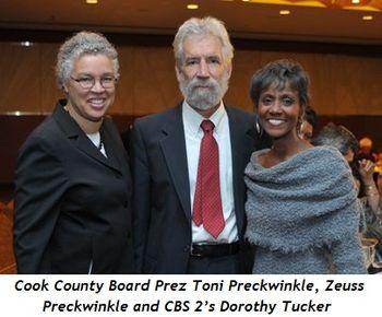 Blog 3 - Cook County Board Prez, Toni Preckwinkle, Zeuss Preckwinkle and CBS 2's Dorothy Tucker