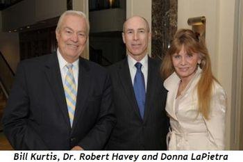 Bill Kurtis (Chicago-Mettawa), Robert J. Havey, M.D. (Wilmette, President of The Global Health Initiative at Chicago Lake Shore Medical Associates), Donna LaPietra (Chicago-Mettawa)
