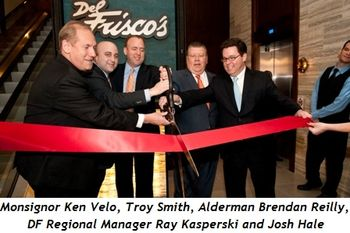 1 - Monsignor Ken Velo, Troy Smith, Alderman Brendan Reilly, DF Regional Mngr.Ray Kasperski, Josh Hale