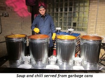 17 - Soup and chili served from garbage cans