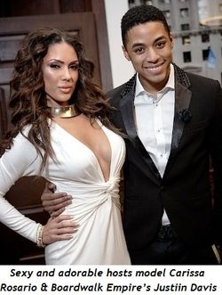 Adorable hosts model Carissa Rosario and Boardwalk Empire's Justin Davis