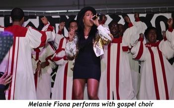 Melanie Fiona performs with gospel choir