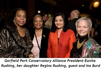 1 - Eunita Rushing, Garfield Park Conservatory Alliance president, her daughter Regina Rushing, guest and Ina Burd
