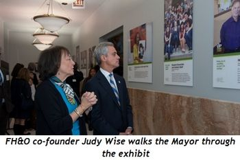 Blog 7 - FH&O Co-founder Judy Wise walk the Mayor thru exhibit