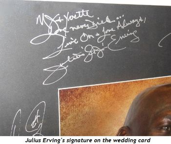 2 - Julius Erving's signature on the wedding card