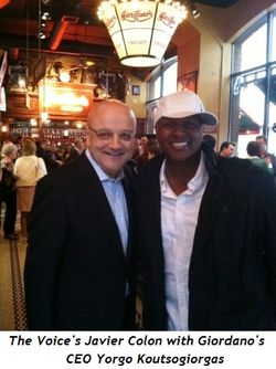 The Voice's Javier Colon with Giordano's  CEO Yorgo Koutsogiorgas