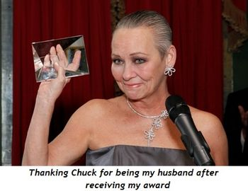 Thanking Chuck for being my husband after receiving my award