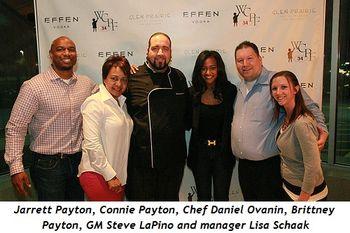 2 - Jarrett Payton, Connie Payton, Chef Daniel Ovanin, Brittney Payton, General Manager Steve LaPino, manager Lisa Schaak