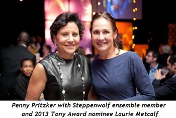 5 - Penny Pritzker with Steppenwolf ensemble member and 2013 Tony Award nominee Laurie Metcalf