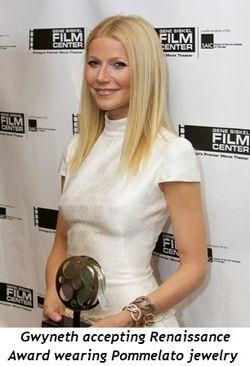 1 - Gwyneth accepting Renaissance Award wearing Pommelato jewelry