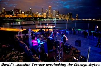 2 - Shedd's Lakeside Terrace with Chicago skyline