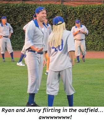 12 - Ryan and Jenny flirting in the outfield awwwwwww