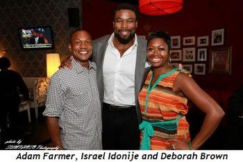 1 - Adam Farmer, Israel Idonije and Deborah Brown