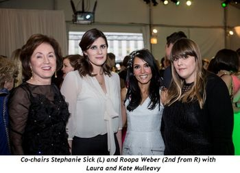 2 - Co-chairs Stephanie Sick (L) and Roopa Weber (2nd from R) with Laura and Kate Mulleavy