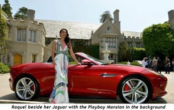 6 - Raquel beside the Jaguar with Mansion in background