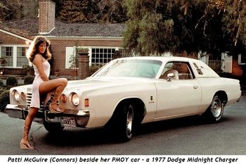 Patti McGuire (Connors) poses beside her PMOY car - a 1977 Dodge Midnight Charger