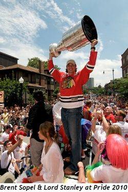 4 - Brent Sopel raises Lord Stanley at Pride 2010
