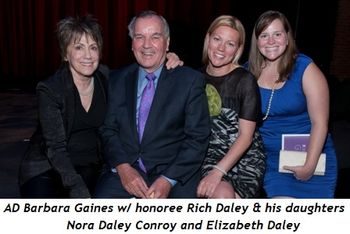 2 - AD Barbara Gaines with honoree Rich Daley and his daughters Nora Daley Conroy and Elizabeth Daley