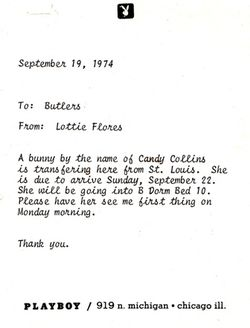 Playboy arrival note to butlers 9-19-74