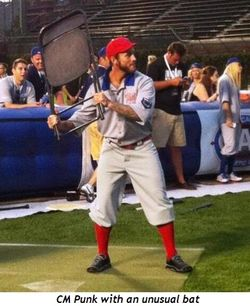 3 - CM Punk with an unusual bat