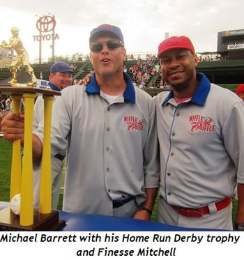 9 - Michael Barrett with his Home Run Derby trophy and Finesse Mitchell