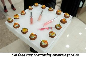 7 - Fun food tray showcasing cosmetic goodies