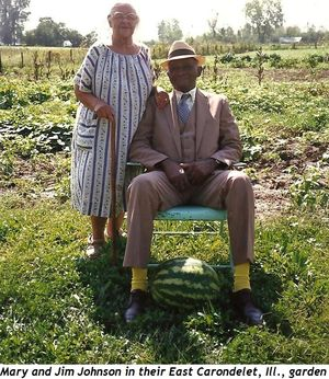 Mary and Jim Johnson in their East Carondelet, Ill., garden