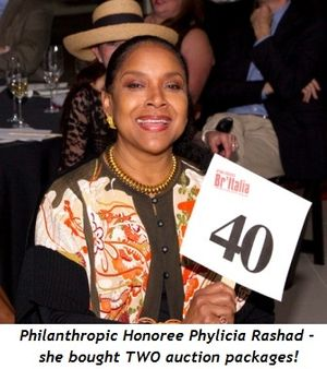 4 - Philanthropic Honoree, Phylicia Rashad, who bought TWO auction packages!