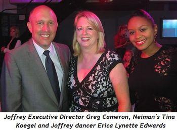1 - Joffrey Executive Director Greg Cameron, Neiman's Tina Koegel and Joffrey dancer Erica Lynette Edwards