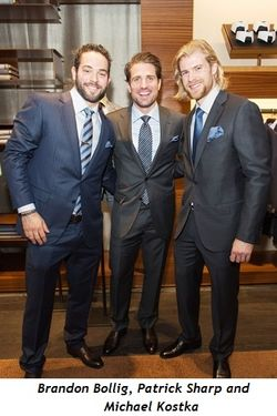 1 - Brandon Bollig, Patrick Sharp and Michael Kostka