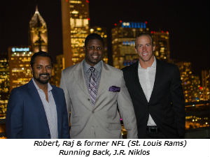 Robert Raj and former NFL (St. Louis Rams) Running Back J.R. Niklos