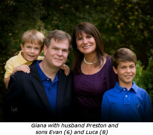 Giana with husband Preston and sons Evan 6 and Luca 8