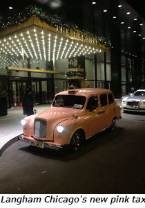 Langham Chicago's new pink taxi