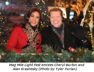 Mag Mile Light Fest emcees Cheryl Burton and Alan Krashesky