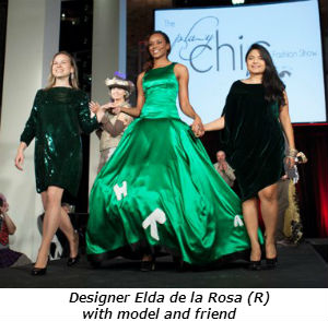 Designer Elda de la Rosa R with model and friend