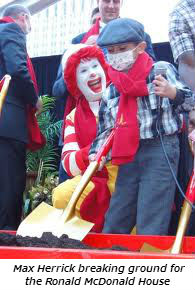 Max Herrick breaking ground for the world's largest Ronald McDonald House