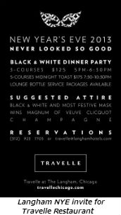 Langham NYE invite for Travelle Restaurant