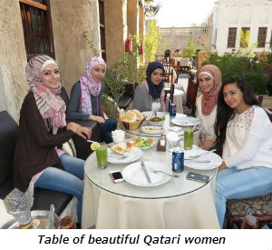 Table of beautiful Qatari women