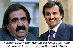 Former Qatari Emir Hamad bin Khalifa al-Thani and current Emir Tamim bin Hamad Al Thani