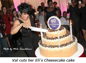 Val cuts her Elis Cheesecake cake