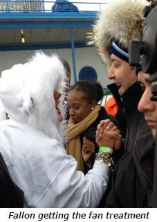 Jimmy Fallon getting the fan treatment