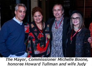 The Mayor Commissioner Michelle Boone honoree Howard Tullman and wife Judy