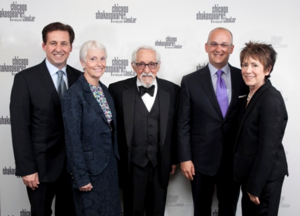 CST Exec. Dir. Criss Henderson, Board Chair Sheli Rosenberg, Spirit of Shakespeare Award Artistic honoree Mike Nussbaum, Civic honoree Greg Smith and SCT Artistic director Barbara Gaines