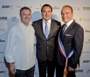 Fig & Olive Exec. Chef Pascal Lorgange, founder Lauren Halasz, Mayor Richard Galy