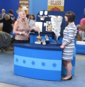 A fuzzy pic of my taping with appraiser Laura Woolley (The Collector's Lab)